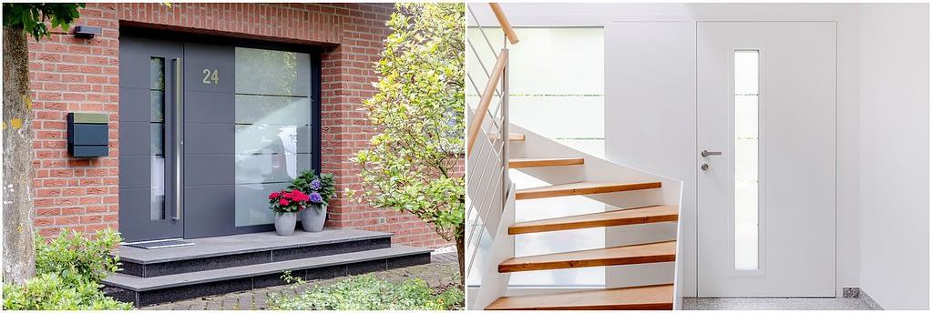 Haustür mit verschiedenen Farben auf beiden Seiten